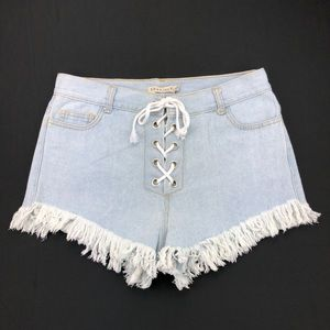 36 Point 5 High-Waist Lace Up Jean Shorts Size XL